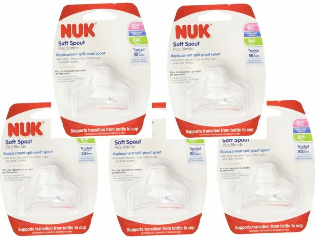 6 Packs of NUK Sippy Cup Bottle Soft Silicone Clear BPA Free Replacement Spouts