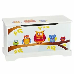 Muebles Nuevo Madera Con Detalles Búhos Caja Juguete De Tapa Niños 5RA4jL