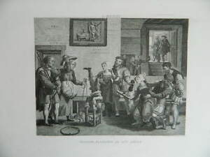 Antigua Grabado Pintura Metzys Escuela Flamenco Taberna Al Siglo XV 1867