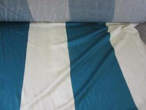 VINTAGE 1950s SOFT DECORATOR FABRIC BEAUTIFUL TEAL BLUE CREAM BIG STRIPES BTY