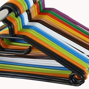 10-200er-Set-Kleiderbuegel-Waeschebuegel-Kunststoff-Buegel-Drehbar-in-Farbe
