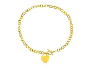"""17/"""" Engravable Heart Tag Oval Chain Charm Necklace 14K Yellow Gold Toggle Clasp"""