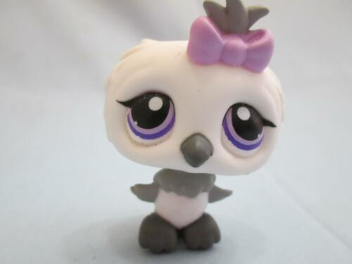 Littlest Pet Shop White Grey Gray Owl Purple Eyes Bow 449 Authentic Lps