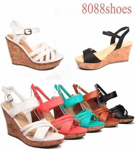 Women-039-s-Colors-Strappy-Open-Toe-Wedges-Heel-Sandal-Shoes-Size-5-5-10-NEW
