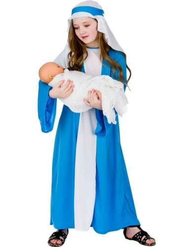 Child Virgin Mary Fancy Dress Girls Costume Christmas Nativity Play Ages 3-13