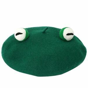 Women Cute Green Frog Eyes Beret Cap Winter Faux Wool Kawaii Painter Beanie Hat