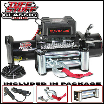 TUFF STUFF CLASSIC 12500 Lbs 12v ELECTRIC RECOVERY WINCH TRUCK TRAILER 12000 lb