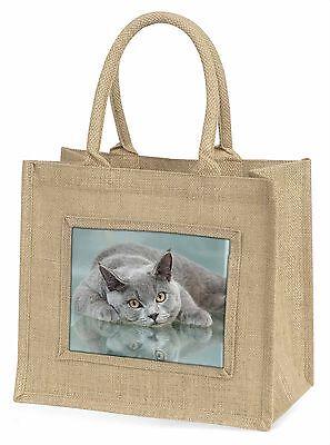 Britische Blue Cat Liegend auf glas Große Natürliche Jute-einkaufstasche Chris,