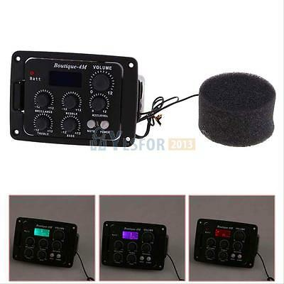 4 Band Piezo Pickup EQ Equalizer Pre-Amp LCD Tuner with MIC for Acoustic Guitar