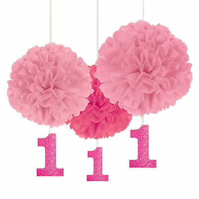 3 Pink 1st First Birthday Girl Party Fluffy Paper Ball Hanging Decorations