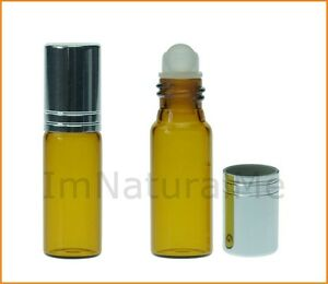 2-x-5ml-Amber-Roll-On-glass-bottle-essential-oil-Aromatherapy-Aroma