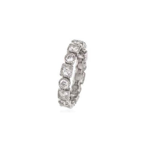 Eternity CZ 925 Sterling Silver Band Bezel Art Deco Ring Princess Round Cut