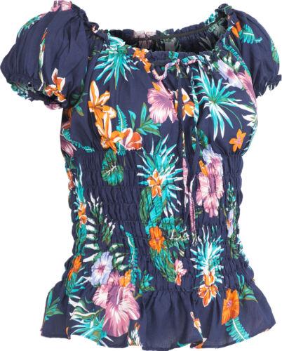 Küstenluder THAO Tropical HIBISCUS FLOWER Palm Leaf RUFFLE Bluse Rockabilly