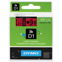 Dymo 1/2 (12mm) Black On Red Label Tape For Dymo 5000