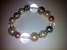 (D4W) £22 RRP Crystal & Simulated & Pearl, rose  Bead stunning Bangle Bracelet