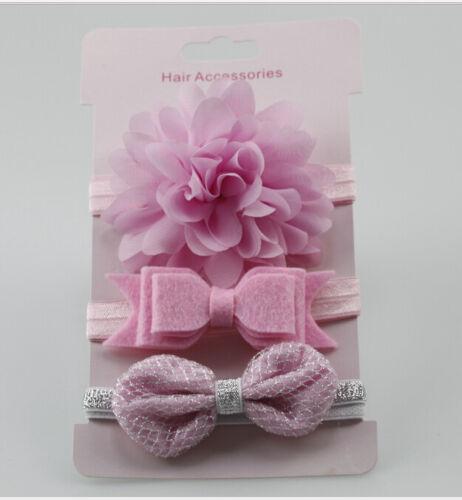 3pcs Kid Girl Baby Toddler Bow Headband Hair Band Accessories CN