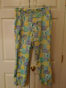 Vintage-Men-Lilly-Pulitzer-Blue-Yellow-Trophy-Patch-Pants-Size-38-30-034-inseam