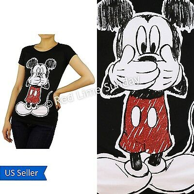 New Disney Black Mickey Mouse Red Glitter Print Cotton Color T Shirt Top Junior