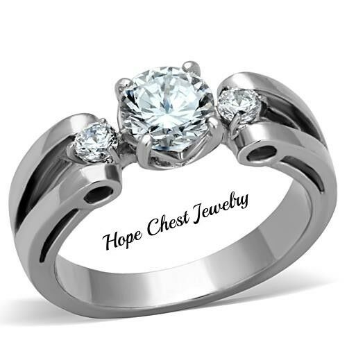 WOMEN'S STAINLESS STEEL 1.85 CARAT CUBIC ZIRCONIA ENGAGEMENT RING SIZE 10