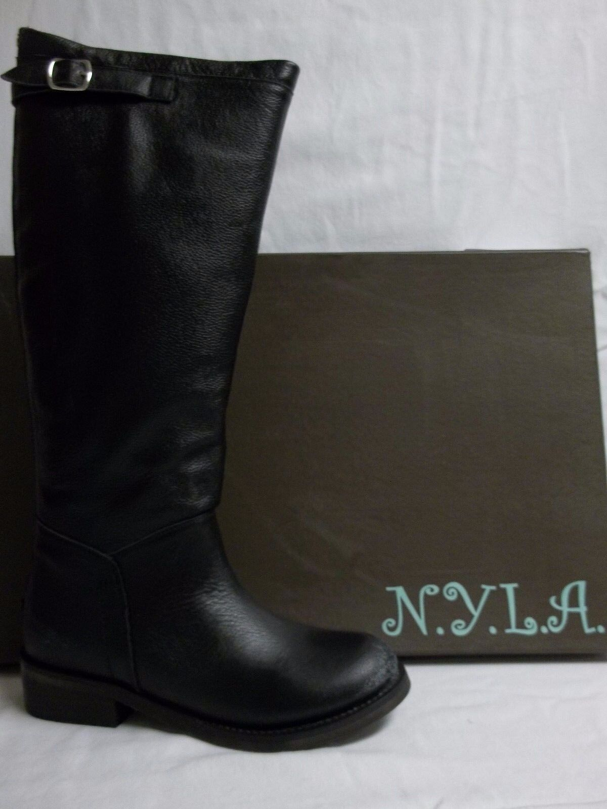 N.Y.L.A. Size 6.5 M Bravery Black Leather Knee High Boots New Womens Shoes