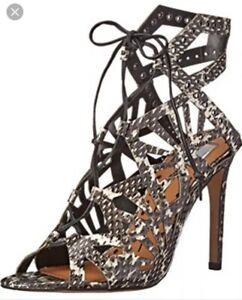 Dolce-Vita-Helena-Heels-Womens-Size-7-Black-White-Print-Lace-Up-Laser-Cut