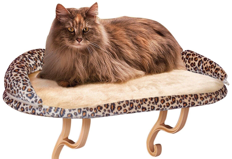 Kitty Sill Cat Window Perch Pet Seat Bed Mount Shelf Bolster Leopard Print Tree