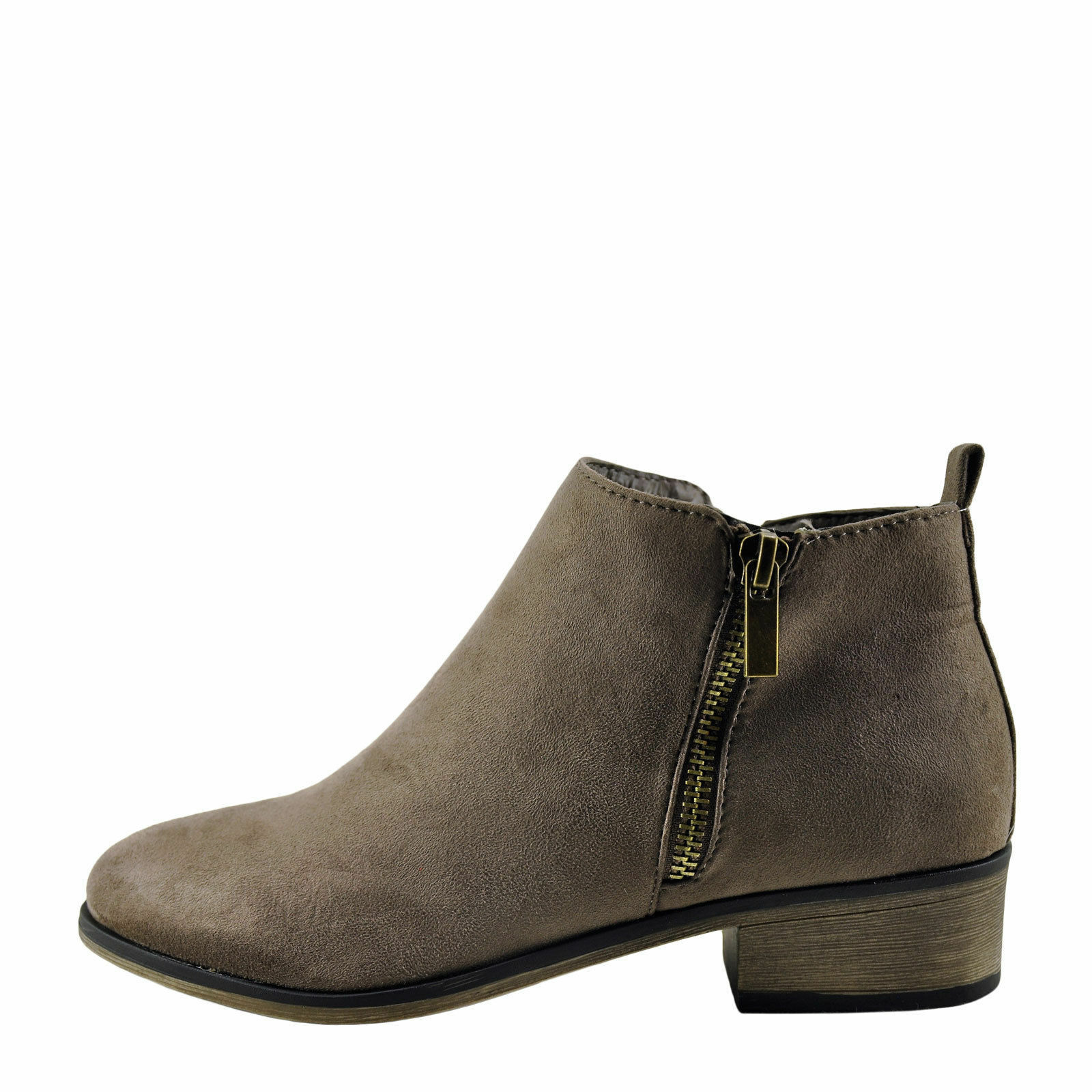 Bamboo Saber 01s Taupe Women's Closed Toe Zipper Accent Ankle Bootie