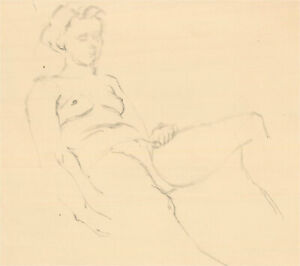Mid 20th Century Graphite Drawing - Study of a Nude Figure