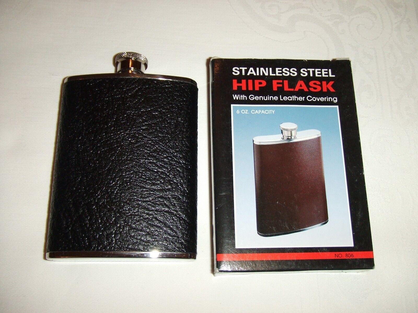 En cuir noir/acier noir/acier noir/acier inoxydable 6 oz (environ 170.09 g) capacité Hip Flask 2a8f77