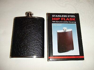 Pelle Nera/capacità 6oz In Acciaio Inox Fiaschetta-ess Steel 6oz Capacity Hip Flask It-it