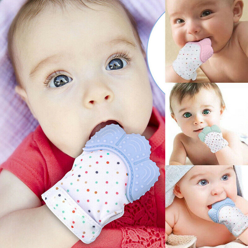 Newborn Baby Silicone Teething Mitten Teether Glove Wrapper Safe Chew Dummy Toys