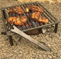 Bbq Grill Grate Campfire Camping Cast Iron Barbecue Cooking Stove Tripod