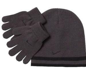 Nike Boys Knit Hat   Gloves Set 8-20 Beanie REVERSIBLE Winter BLACK ... 51a35958cfd