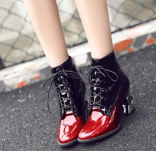 Ladies pu leather velvet oxford riding ankle boots gradient color cuban shoes sz