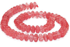 Erdbeerquarz-6-x-10-mm-Linsen-Schmuckstein-Strang-Perlen-Top-Qualitaet