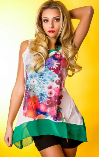 ANT Top Sommer Shirt luftig asymetrisch Blumen Tunika Oberteil 36 38 40 42