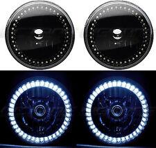 """7"""" Black Halogen Headlight White LED SC Halo Angel Eye Headlamp Light Bulb Pair"""