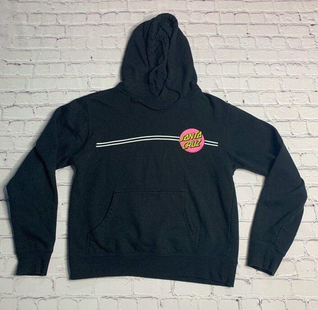 Santa Cruz Skateboards Womens Hoodie Sweatshirt Black Pink Yellow Pullover M