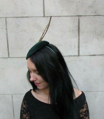 Dark Bottle Green Brown Pheasant Feather Pillbox Hat Fascinator Races Hair 8023