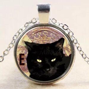 silber-Schwarze-Katze-Collier-Kette-Anhaenger-medallion-chain-Black-Cat