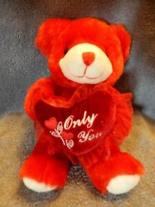 Dan-Dee-039-Only-You-034-2007-Plush-Red-Sweetheart-Teddy-Bear-8-034-Great-Condition-EUC