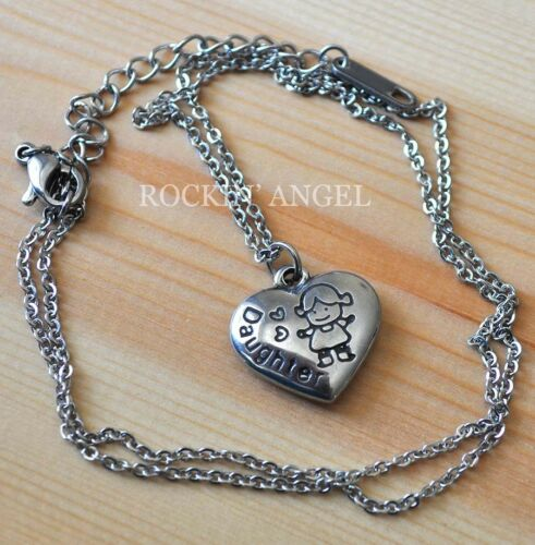 316 Stainless Steel Heart Pendant Necklace Engraved /'Daughter/' Ladies Girls Gift