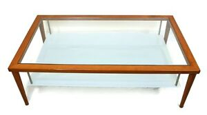 Details About Calligaris Brown Coffee Table 1950s Clear Glass Top With  Lower Milky Aqua Glass