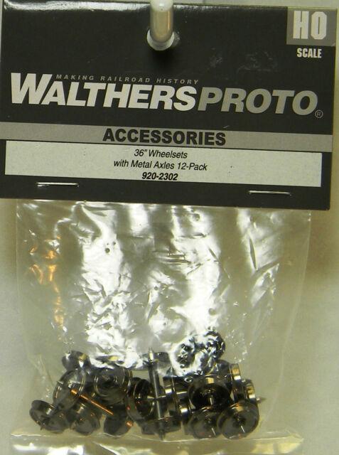 "NIB HO Walthers Proto 920-2302 36"" Wheelsets w/Metal Axles 12 Ct"
