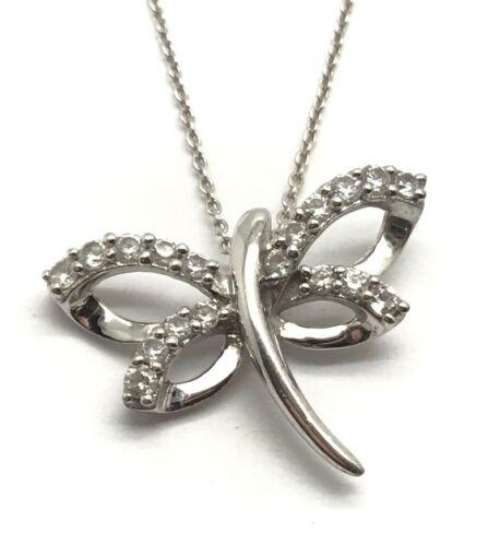 Sterling Silver 925 CZ Pave Petite Swirl Elegant Dragonfly Pendant Necklace 18/'/'