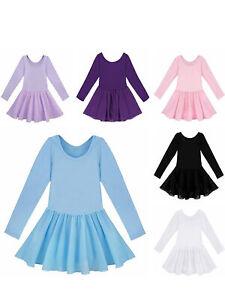 Kids-Girls-Ballet-Gymnastics-Dance-Dress-Long-Sleeve-Leotard-with-Chiffon-Skirt