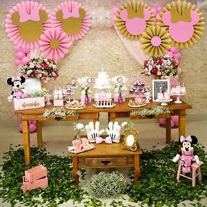 Image Is Loading 6 Pink Gold Minnie Mouse Backdrop Decorations Birthday