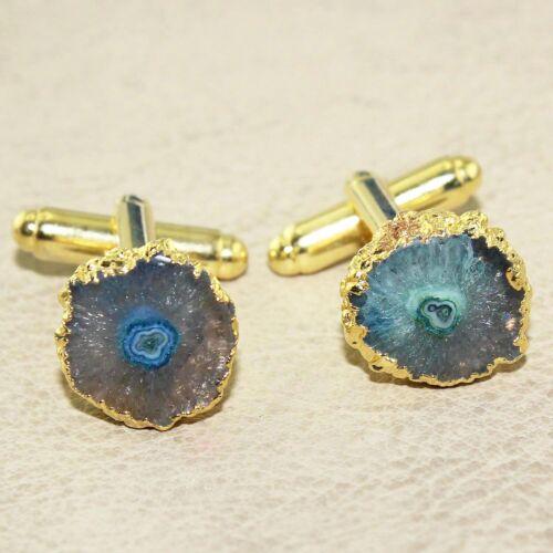Hecho a mano Natural Geode Solar Cuarzo Chapado en Oro Gemelos de moda para hombres