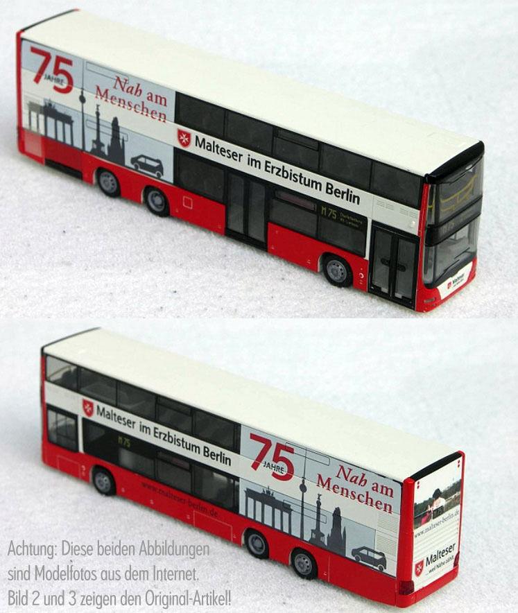 ️ Rietze MAN Lion's City DD BVG Bus Berliner Sondermodell Modelbus MALTESER ⬅️