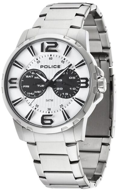Steel Bracelet Pl14100js01m Police Visionary Date Watch Dial Day Stainless Multi iuTXOPkZ